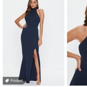 Navy Choker Maxi Dress (Tall)